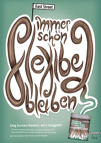 Study project for a fictional hair product with hairy hand lettering.