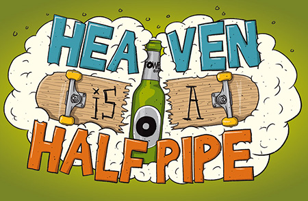 illustration for a club event poster called 'Heaven ia a Halfpipe' (Bremen/Tower)