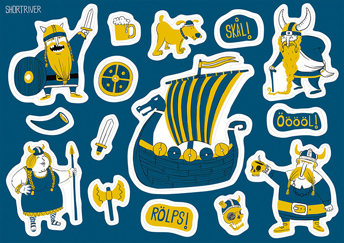 Vikingar sticker sheet, available in my shop.